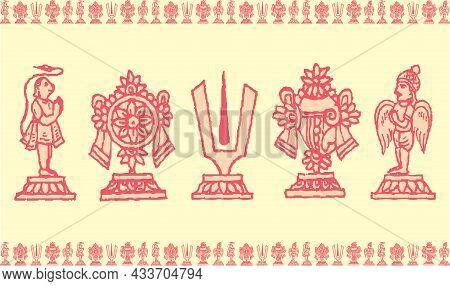 Sketch Of Lord Venkateshwara And Goddess Lakshmi Sign And Symbols Outline Editable Illustration