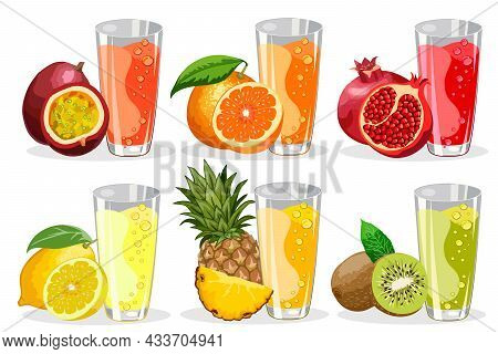 Tropical Fruit Juices In Glasses.tropical Fruits And Juices In Glasses On A White Background In Colo