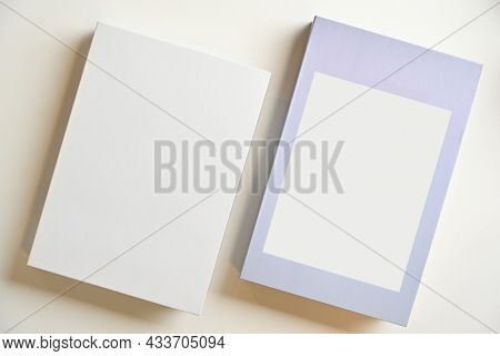 Two Hardcover Styles, Each With A Blank Space For Your Text Or Design. Top View