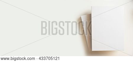 Blank Books Cover For Montage And Copy Space For Text Display On White Background