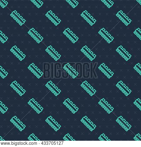 Green Line Hunting Cartridge Belt With Cartridges Icon Isolated Seamless Pattern On Blue Background.