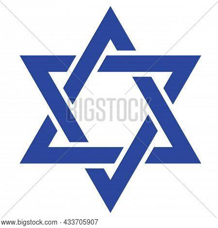 Star David. Icon Of Jewish Star. Jew Hexagram. Icon For Israel, Judaism And Hanukkah. Sign Of Hebrew