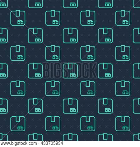 Green Line Carton Cardboard Box Icon Isolated Seamless Pattern On Blue Background. Box, Package, Par