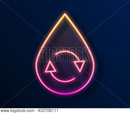 Glowing Neon Line Recycle Clean Aqua Icon Isolated On Black Background. Drop Of Water With Sign Recy