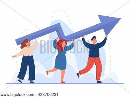 Tiny Professional Business People Carrying Upward Arrow. Office Persons With Career Progress Or Grow
