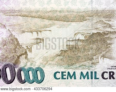 Iguacu Cataract From Old Brazilian Money - Cruzeiros
