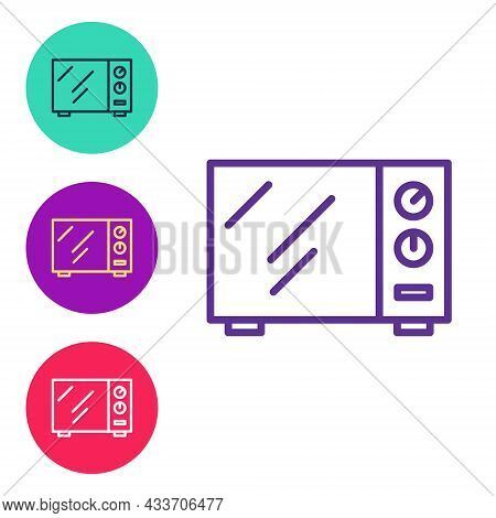 Set Line Microwave Oven Icon Isolated On White Background. Home Appliances Icon. Set Icons Colorful.