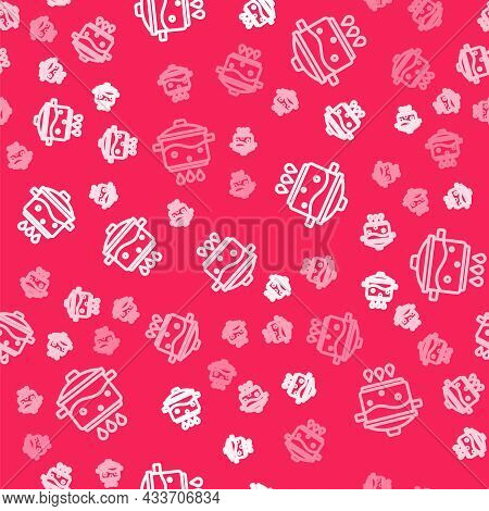 White Line Cooking Pot On Fire Icon Isolated Seamless Pattern On Red Background. Boil Or Stew Food S