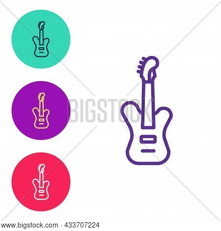 Set Line Electric Bass Guitar Icon Isolated On White Background. Set Icons Colorful. Vector