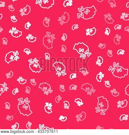 White Line Dreams Icon Isolated Seamless Pattern On Red Background. Sleep, Rest, Dream Concept. Rest