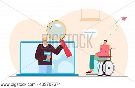 Disabled Man Next To Huge Laptop With Professor On Screen.  On Wheelchair Flat Vector Illustr