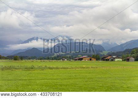 Idyllic Rainy Scenery At The Allgaeu Region In Swabia, Germany