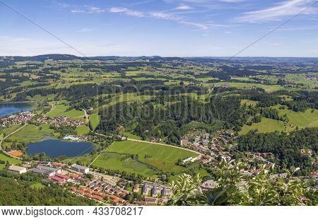 Idyllic Aerial View Seen From The Immenstaedter Horn Around Immenstadt At The Allgaeu Region In Swab