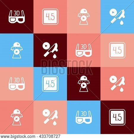 Set Pop Art 3d Cinema Glasses, Rating Movie, Science Fiction And Thriller Icon. Vector