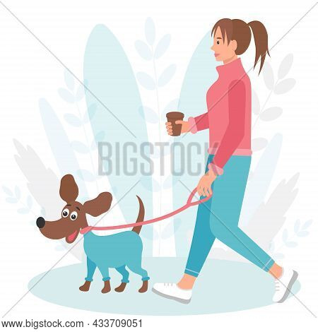 Dog On A Walk With A Girl Vector Flat Illustration. Woman With Pet On The Street Concept. Human-dog