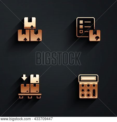 Set Carton Cardboard Box, Verification Of Delivery List, Cardboard Boxes Pallet And Calculator Icon