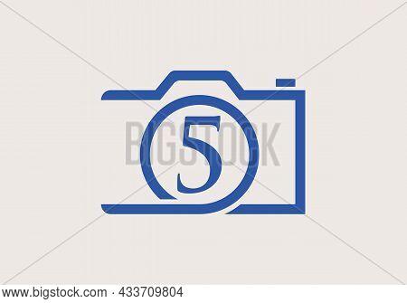 Photography Logo Design On Letter 5. Letter 5 Photography Logo Design. Camera Logo Design Inspiratio