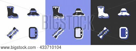 Set Carabiner, Fishing Boots, Oars Or Paddles Boat And Fisherman Hat Icon. Vector