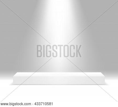 Rectangular White Stage Podium Illuminated With Light. Stage Vector Backdrop. Festive Podium Scene F