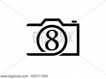 Photography Logo Design On Letter 8. Letter 8 Photography Logo Design. Camera Logo Design Inspiratio