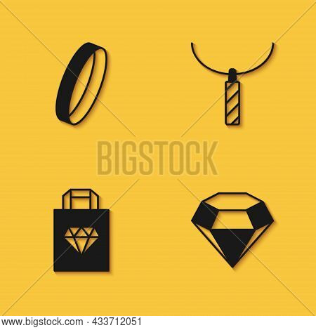 Set Wedding Ring, Diamond, Shopping Bag Jewelry And Pendant Necklace Icon With Long Shadow. Vector
