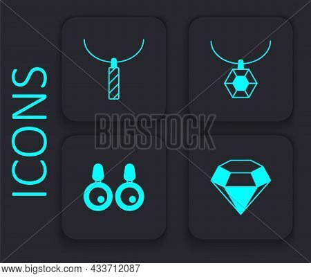 Set Diamond, Pendant Necklace, And Earrings Icon. Black Square Button. Vector