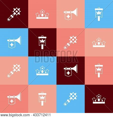 Set Pop Art Mace With Spikes, King Crown, Trumpet Flag And Medieval Icon. Vector