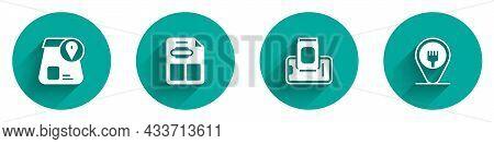 Set Online Ordering Food, Restaurant Cafe Menu, Food On Mobile And Cafe And Restaurant Location Icon