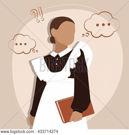 Vector Flat Illustration Of A Schoolgirl. Vector Illustration. Return To School. Isolated Image