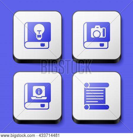 Set User Manual, Photo Album Gallery, And Decree, Parchment, Scroll Icon. White Square Button. Vecto