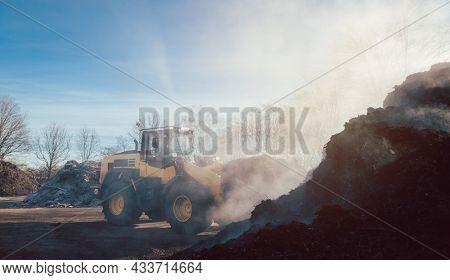 Bulldozer at heavy earthworks in biomass facility