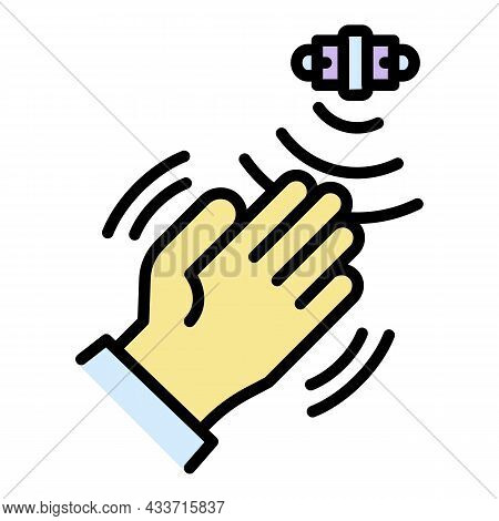 Hand Motion Sensor Icon. Outline Hand Motion Sensor Vector Icon Color Flat Isolated