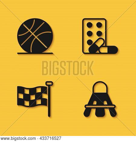 Set Basketball Ball, Badminton Shuttlecock, Checkered Flag And Sports Doping With Dumbbell Icon With