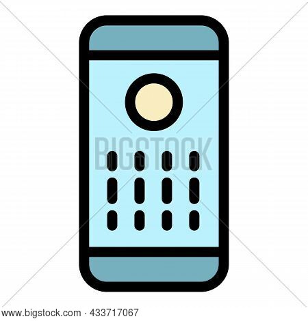 Smart Speaker Front View Icon. Outline Smart Speaker Front View Vector Icon Color Flat Isolated