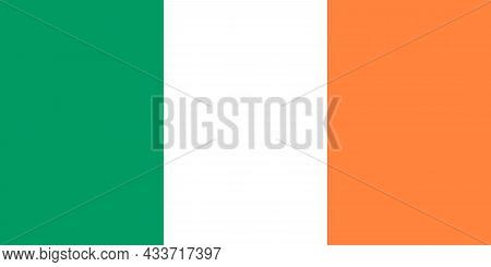 National Flag Of Ireland Original Size And Colors Vector Illustration, Bratach Na Heireann Or Irish