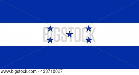 National Flag Of Honduras Original Size And Colors Vector Illustration, Honduras Flag Based On Feder