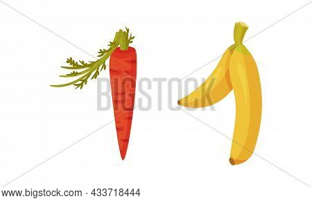 Number 1 One Made Of Fresh Carrot, Banana Vegetable And Fruit Cartoon Vector Illustration