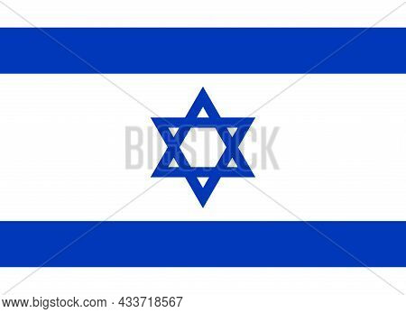 National Flag Of Israel Original Size And Colors Vector Illustration, Flag State Of Israel Used Star