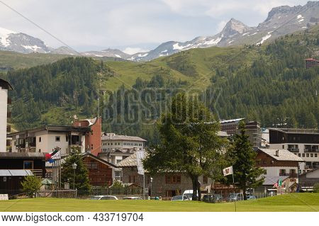 Breuil-cervinia, Italy - July 22, 2021: View Of The Center Of Breuil-cervinia Alpine Little Town In