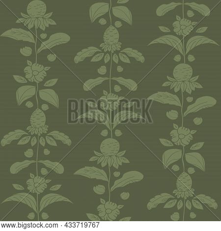 Sage Green Wild Meadow Flower Seamless Vector Pattern. Arts And Crafts Style Sea Holly Flowers, Dais