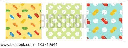 Set, Collection Of Three Colorful Pills, Medications, Food Supplements Vector Seamless Pattern Backg