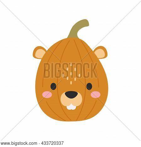 Happy Halloween Cute Cartoon Pumpkin With Beaver Face. Halloween Party Decor For Children. Childish