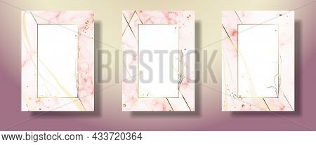 Gold Frame Pink And Leaves. Marble Pink Background. Geometric Abstract Frame. Vector File.