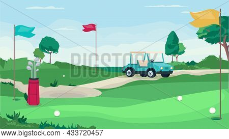 Golf Game Field Concept In Flat Cartoon Design. Green Field With Holes For Balls And Flags, Golf Car