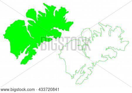 Kodiak Island (united States Of America, North America, Alaska, Us, Usa) Map Vector Illustration, Sc