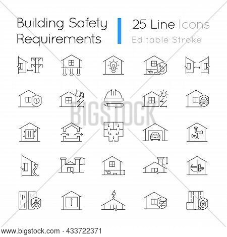 Building Safety Requirements Linear Icons Set. Remodeling House. Standards For Buildings Design. Cus