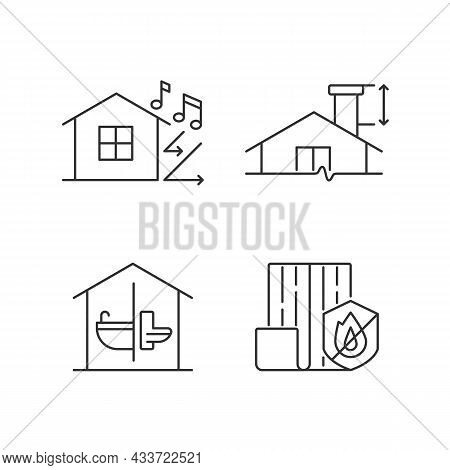 Home Construction Safety Linear Icons Set. Sound Insulation. Minimum Chimney Height. Resistance To F
