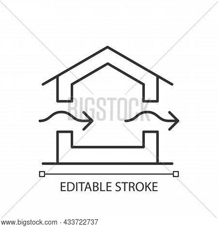 Ventilation System Linear Icon. Providing Natural Ventilation In Building. Prevent Condensation. Thi
