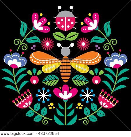 Scandinavian Folk Flowers Vector Design, Cute Spirng Floral Pattern With Bugs, Ladybird And Fly Insp