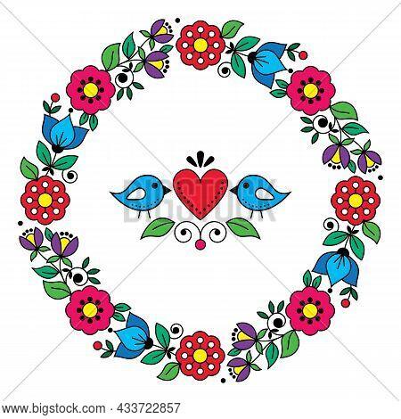 Scandinavian, Nordic Folk Art Vector Valentine's Day Greeting Card Or Wedding Invitation Design, Swe